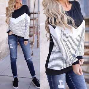 ELIZA Stripe Top - BLACK mix